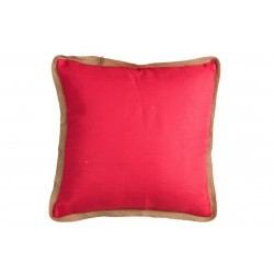 Coussin bord rotin rose et rouge