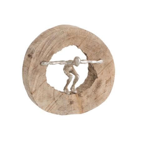 Statut personnage saut en bois naturel et aluminium
