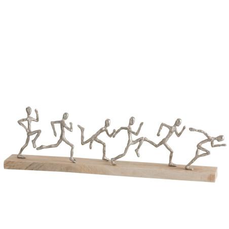 Statue sur socle 6 coureurs aluminium et bois