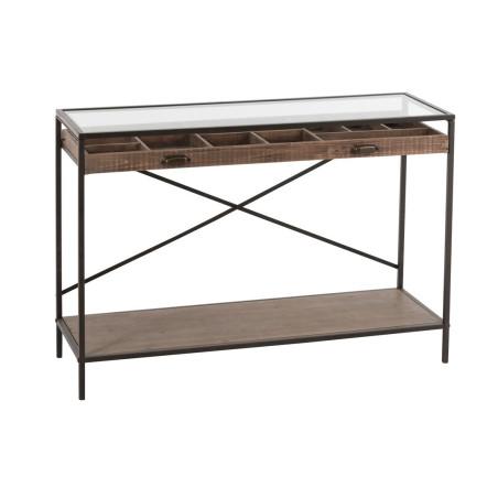 Console tiroirs compartimentés bois et métal