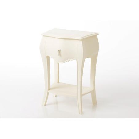 Table de chevet Baroque chic connectée Murano blanc cassé