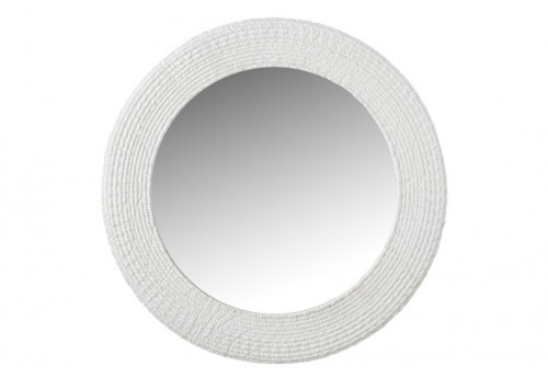Miroir rond nervures blanches