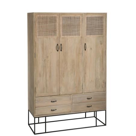 Armoire 3 portes 4 tiroirs rotin tissé bois manguier naturel