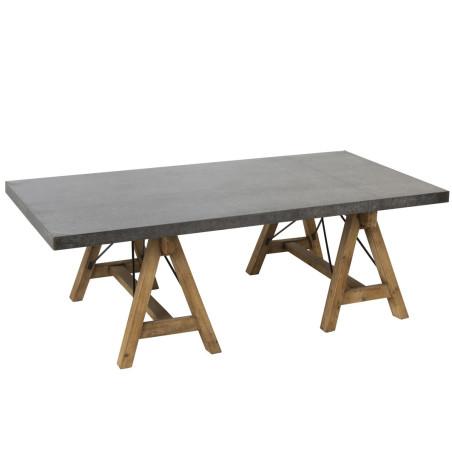 Table de salon industriel pieds tréteaux bois naturel et plateau métal zinc