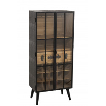 Vitrine vintage bois et métal naturel et noir