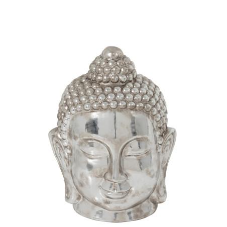Tête de Bouddha céramique argenté