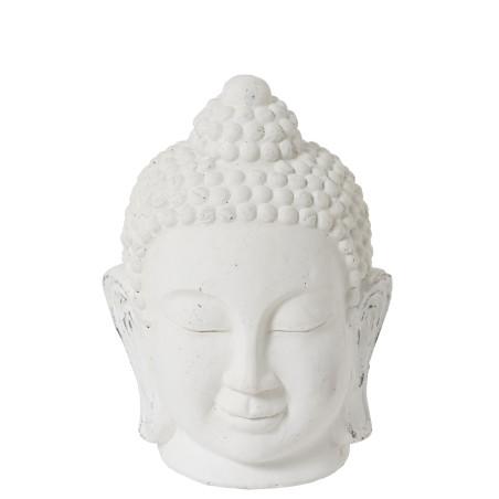 Statue tête de bouddha H 44 cm en céramique blanche