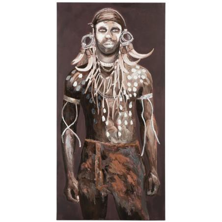 Grande toile Ethnique chic Homme africain Tribal Marron et blanc