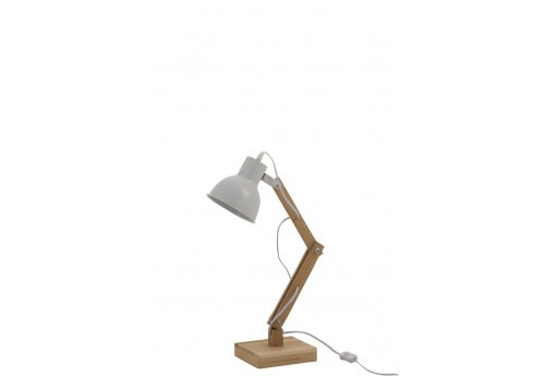 Lampe de bureau movible blanche et naturel Denis