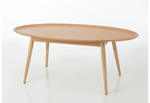 Table basse moderne ovale naturel Frêne