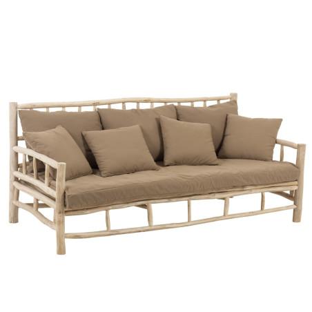 Canapé 3 places en teck naturel et tissu marron