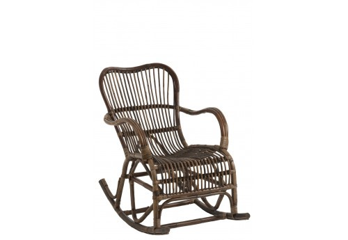 Rocking chair rotin marron Vintage