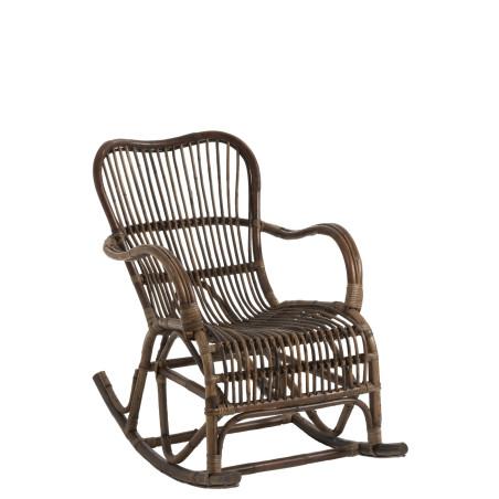 Rocking chair rotin marron Vintage