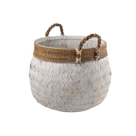 Grand panier boule bambou blanc et corde naturel