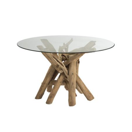 Table à manger ronde en bois flotté