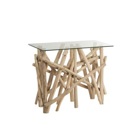 Console rectangulaire en bois flotté naturel