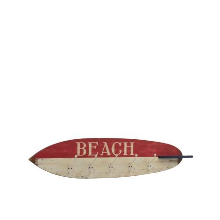 Porte manteau murale planche de surf rouge blanc et bleu
