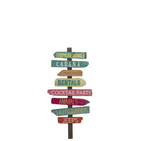 Panneau décoratif Tropical en bois vieilli coloré
