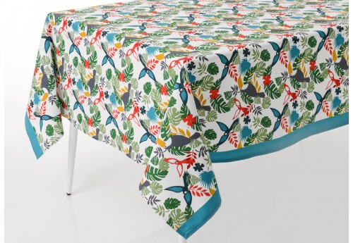 Nappe rectangulaire tropicale multicolore Toucans