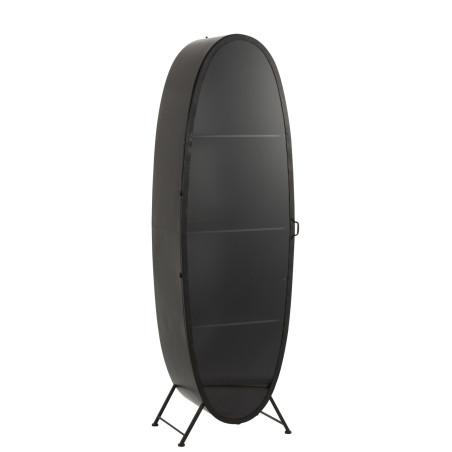 Vitrine vintage 1 porte ovale métal noir
