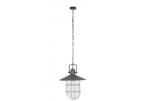Suspension industrielle vintage grise