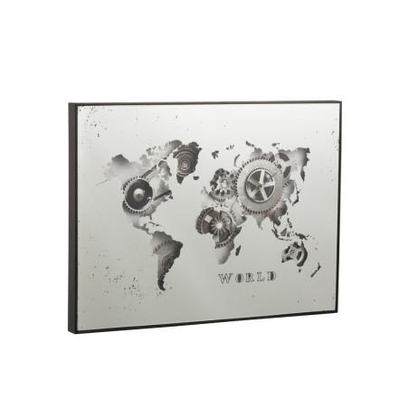 Horloge miroir rectangulaire Mappemonde argent