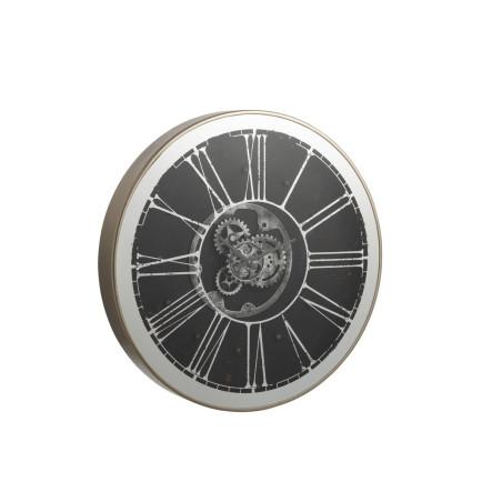 Horloge ronde design à leds miroir argent et champagne