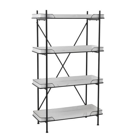 Étagère rétro 4 niveaux métal noir et blanc
