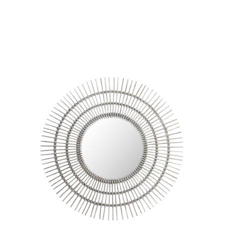 Miroir rond en rotin blanc Ethnique chic