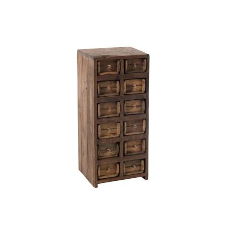 Chiffonnier exotique 12 tiroirs en bois recylé marron