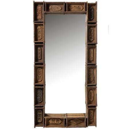 Grand miroir coloniale en bois recyclé marron Bacs