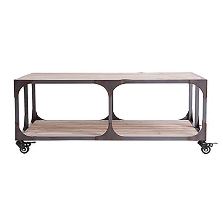 Table de salon industrielle sur roues en bois et métal naturel