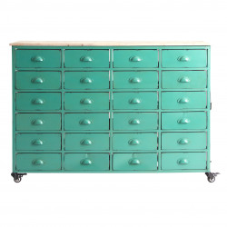 Semainier 24 tiroirs industriel sur roues métal vert azur vieilli