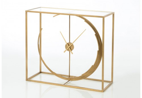 Console contemporaine horloge métal or