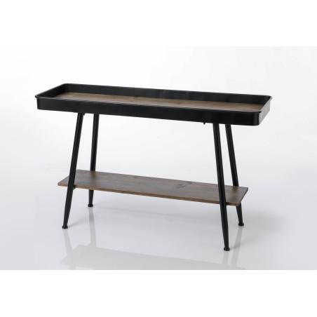 Console atelier plateau métallique et bois naturel