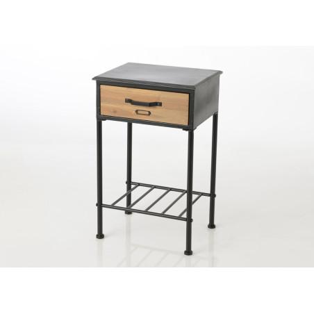 Table de chevet en métal noir 1 tiroir naturel Etiquette