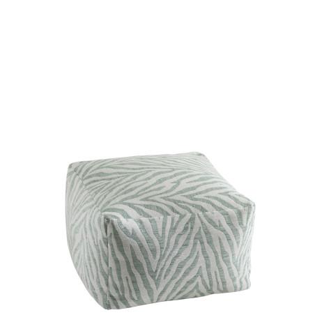pouf carré zebré menthe et blanc