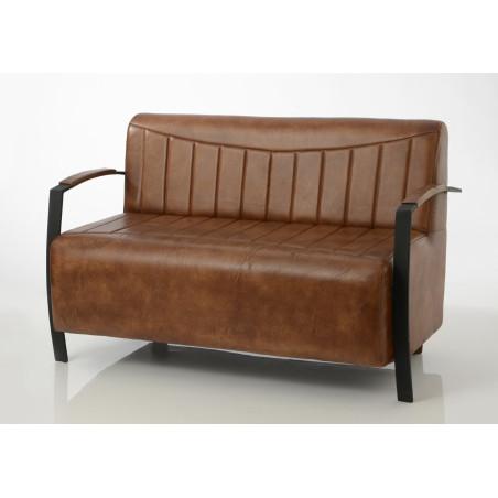 Canapé 2 places rétro en cuir