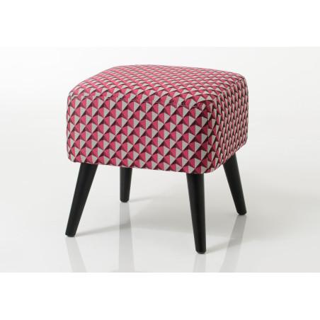 Pouf carré tapissé rose Vadim