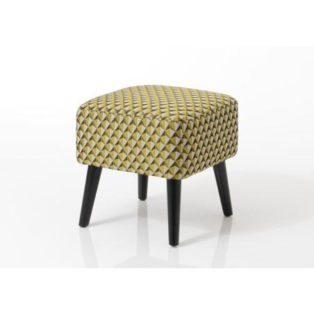 Pouf carré vintage tapissé moutarde Vadim