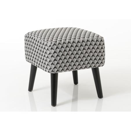 Pouf carré chic tapissé noir et gris Vadim