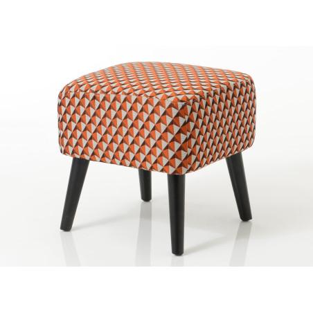 Pouf vintage tapissé orange Vadim