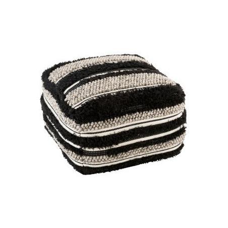 Pouf Fluffy en laine noir et blanc