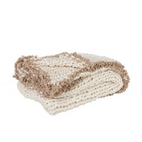 Plaid crochets beige
