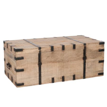Coffre en bois et fer forgé