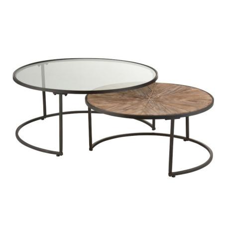 Set de 2 Table Gigogne Ronde Verre/Metal noir Jolipa