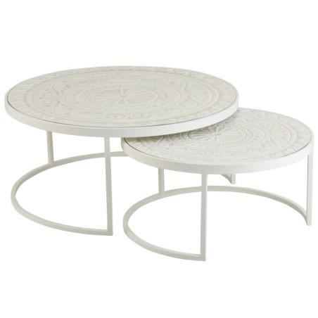 Set de 2 Tables basses Gigognes métal et bois Jolipa