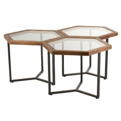 Set de 3 Tables D'appoint Hexagone Verre/Bois Jolipa