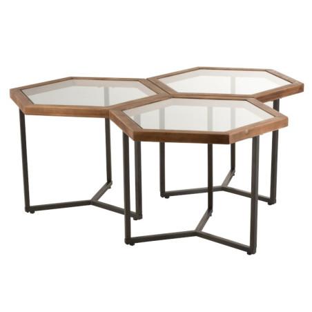 Set de 3 Tables D'appoint Hexagone Verre/Bois Jolipa