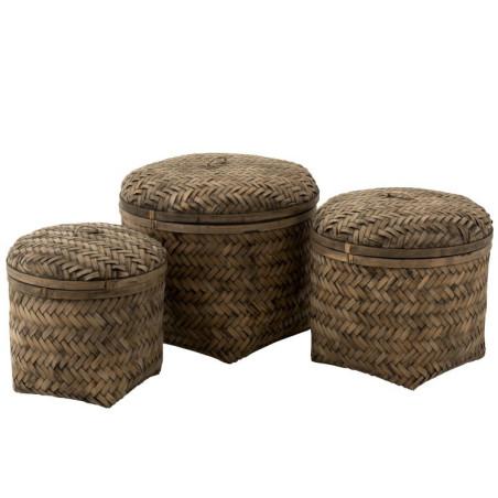 Set de 3 Paniers Tissés Avec Couvercle Bambou Marron Jolipa
